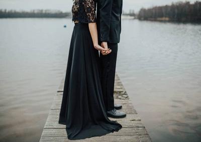 2 Teilige Brautkleid Schwarz | Hochzeitskleid Mit Spitzelärmel_5