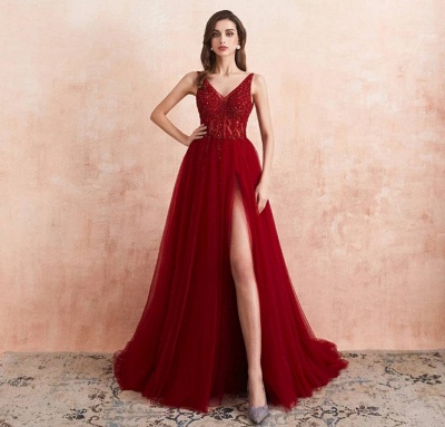 Elegant evening dresses V neckline | Prom dresses long red online_2