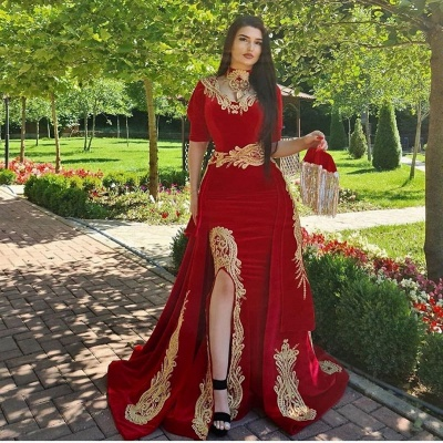 Elegant evening dresses long red | Prom dresses with sleeves_2