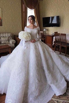 Luxury wedding dresses with sleeves | Wedding dress A line lace_1