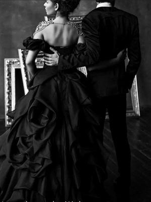 Schwarze Brautkleider Pinzessin |  Vintage Hochzeitskleid Mit Spitze_2
