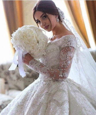 Luxury wedding dresses with sleeves | Wedding dress A line lace_4