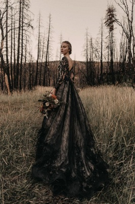 Black wedding dresses with sleeves | Lace wedding dress A line_3