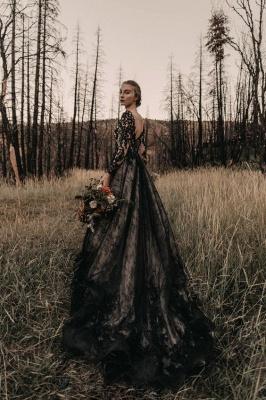 Schwarze Brautkleider Mit Ärmel | Spitze Hochzeitskleid A Linie_3