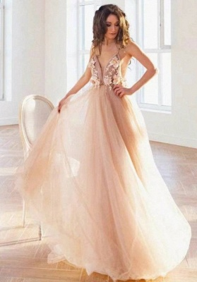 Simple wedding dress A line | Summer tulle dresses wedding_1