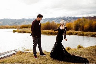 Schwarze Brautkleider Mit Ärmel | Meerjungfrau Hochzeitskleid Spitze_4