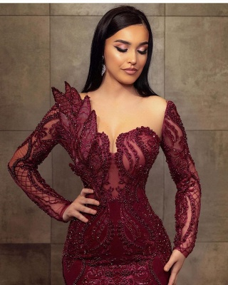 Wine red evening dresses long glitter | Prom dresses with lace sleeves_3