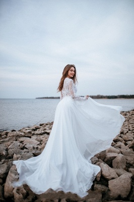 Designer wedding dresses with sleeves | Chiffon bridal wear with lace_4