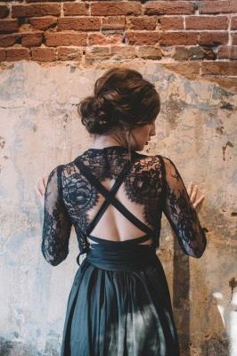 Elegante Brautkleider mit Spitze Ärmel | Hochzeitskleider Schwarz_2