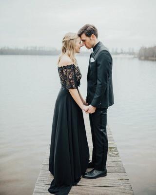 2 Teilige Brautkleid Schwarz | Hochzeitskleid Mit Spitzelärmel_7