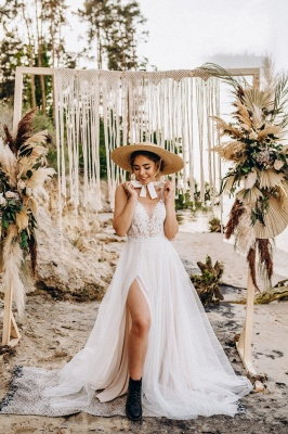 Wunderschöne Brautkleider mit Spitze | Tüll Schlichte Hochzeitskleider_2