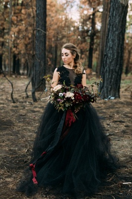 Black wedding dresses princess | Wedding dress with lace_1