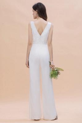 Schlichtes Abendkleid Jumpsuit | Weiße Brautjungfernkleider Lang Günstig_3