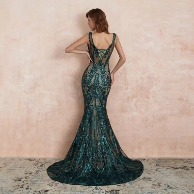 Green Evening Dresses Long V Neck | Prom dresses glitter_3