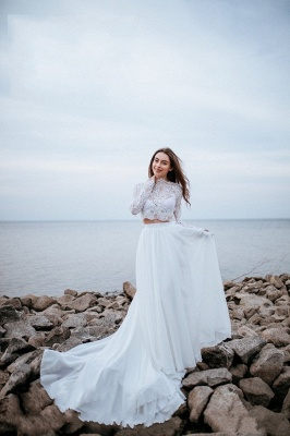Designer wedding dresses with sleeves | Chiffon bridal wear with lace_6