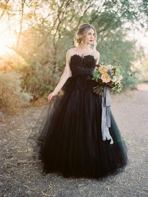 Schwarzes Hochzeitskleid A Linie | Tülle Brautkleider Online_3
