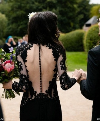 Black wedding dresses with sleeves | Mermaid wedding dresses with lace_9