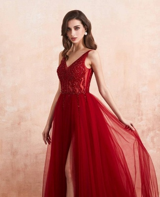 Elegant evening dresses V neckline | Prom dresses long red online_6