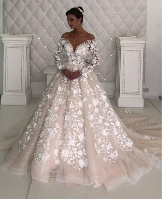 Designer wedding dresses with sleeves | Lace wedding dresses A line_2