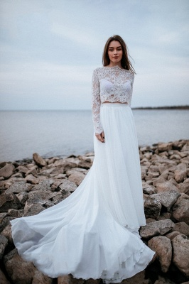 Designer wedding dresses with sleeves | Chiffon bridal wear with lace_2