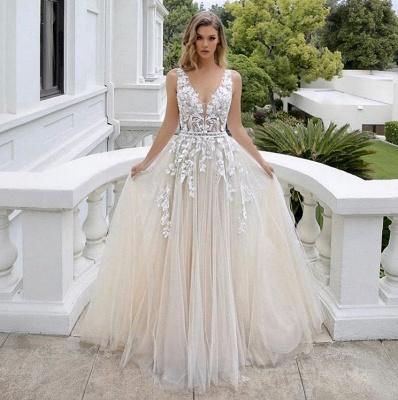 Wedding dress A line V neckline | Beautiful wedding dresses with lace_2