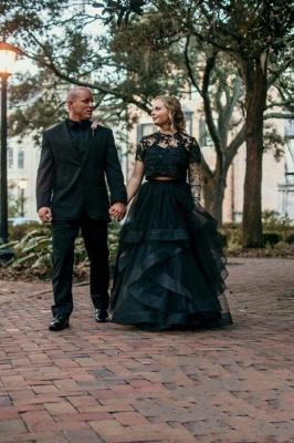 2 Teillige Brautkleider Mit Ärmel | Spitze Hochzeitkleid Schwarz