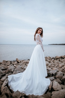 Designer wedding dresses with sleeves | Chiffon bridal wear with lace_5
