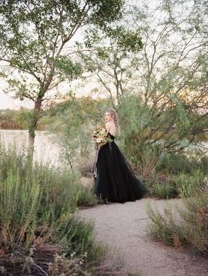 Schwarzes Hochzeitskleid A Linie | Tülle Brautkleider Online_4