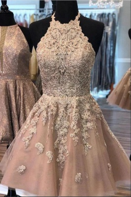 Champagne cocktail dresses short | Elegant party dresses with lace_2