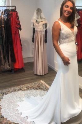 Elegante Brautkleider Meerjungfrau | Hochzeitskleider mit Spitze V Ausschnitt_1