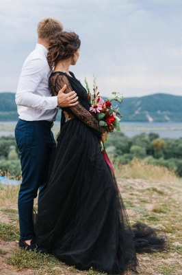 Simple black wedding dress with sleeves | Wedding dresses with lace_5