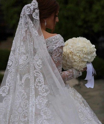 Luxury wedding dresses with sleeves | Wedding dress A line lace_5