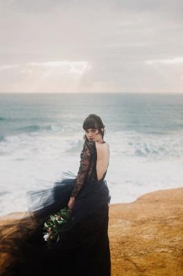 Schwarze Hochzeitskleider mit Ärmel | Spitze Brautkleid Online_3
