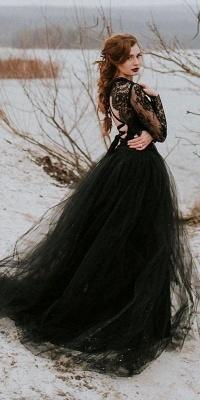 Elegante Brautkleider mit Spitze Ärmel | Hochzeitskleider Schwarz_3
