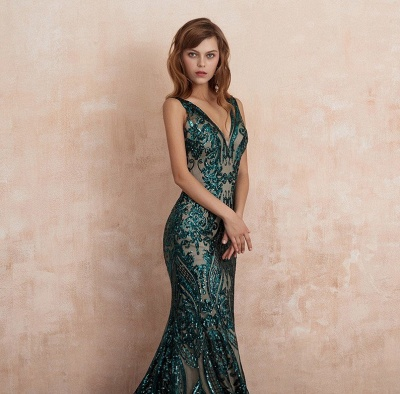 Green Evening Dresses Long V Neck | Prom dresses glitter_4