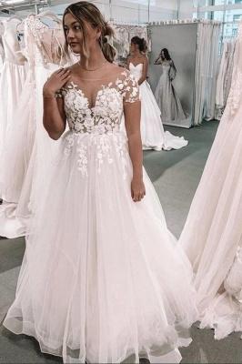 Schöne Brautkleid A linie Kurz Ärmel | Schlichte Hochzeitskleid mit Spitze