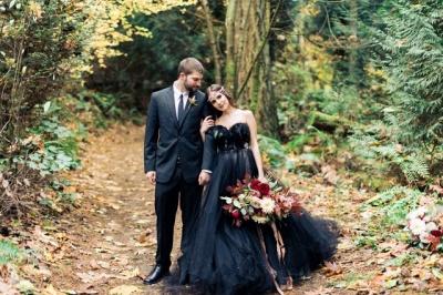 Schwarze Brautkleid A linie | Tüll Hochzeitskleid Günstig Online_3