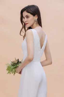Schlichtes Abendkleid Jumpsuit | Weiße Brautjungfernkleider Lang Günstig_10