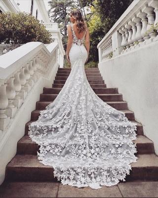 Brautkleider Spitze Meerjungfrau | Hochzeitskleider V Ausschnitt_3