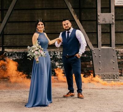 Schöne Brautjungfernkleider Lang Chiffon | Blaue Kleider Brautjungfern_3