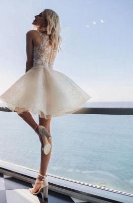 Elegante Brautkleid Kurz | A Linie Hochzeitskleid mit Spitze_2