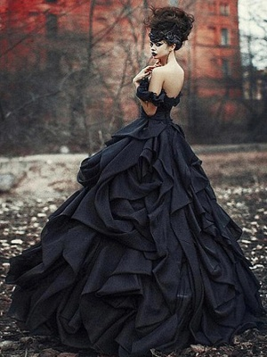 Schwarze Brautkleider Pinzessin |  Vintage Hochzeitskleid Mit Spitze_3