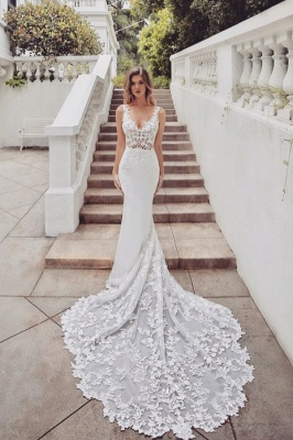 Wedding dresses lace mermaid | Wedding dresses V neckline_1