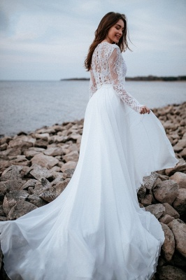 Designer wedding dresses with sleeves | Chiffon bridal wear with lace_7