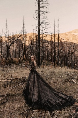 Black wedding dresses with sleeves | Lace wedding dress A line_4
