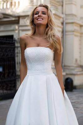 Schlichte Brautkleid A Linie | Satin Hochzeitskleider Günstig Online_3