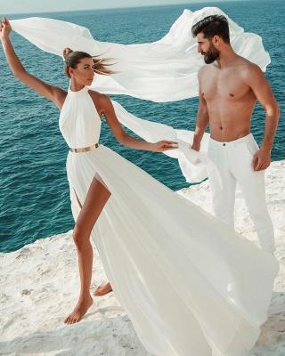 Sommer Chiffon Brautkleider Günstig | Schlichte Hochzeitskleid Online_5