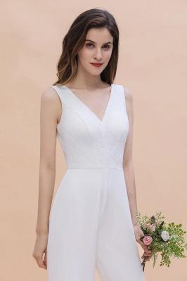 Schlichtes Abendkleid Jumpsuit | Weiße Brautjungfernkleider Lang Günstig_9