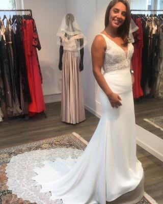 Elegante Brautkleider Meerjungfrau | Hochzeitskleider mit Spitze V Ausschnitt_2