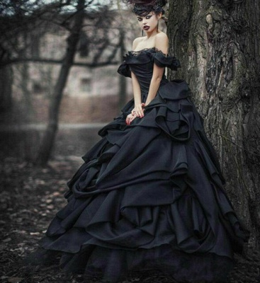 Black wedding dresses princess | Vintage wedding dress with lace_4